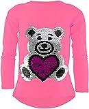 Unbekannt Teddybär Mädchen Langarm Wendepailletten T-Shirt Bluse Long Shirt Pullover Pulli (110-116, Pink)