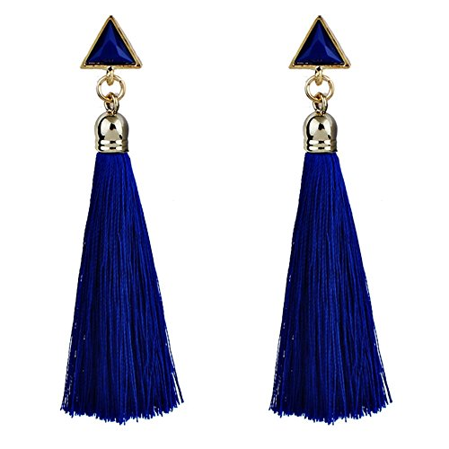 TAOtTAO Quaste Ohrringe Rot/Blau / Weiß/Schwarz Bohemian Women Ethnic Hanging Rope Tassel Earrings (Blau)