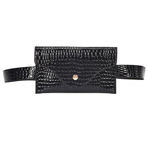 Gusspower Riñoneras Mujeres Celular Mini Cuero de PU Bolso de Cintura Multifunción de Cuero Bolsa de Cinturón para Mujeres Niñas (Negro)