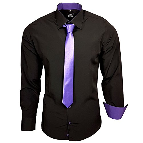 Rusty Neal Herren Kontrast Hemd Schwarz Slim Fit Black Edition mit Krawatte Schwarz / Lila