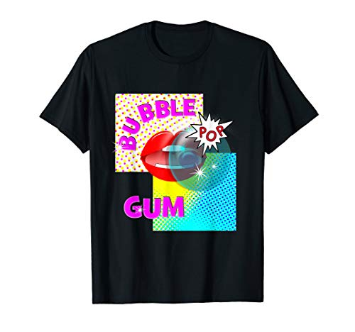 Pop Art Bubble Gum Red Lips Funky Graphic  T-Shirt