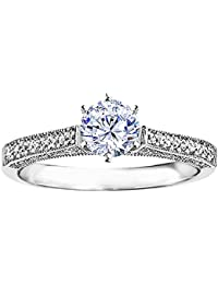 Silvernshine 1 Ct Round Cut Cubc Zirconia Diamond Solitaire Engagement Ring In 14k White Gold FN