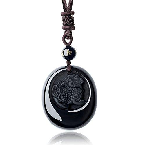 COAI® Natürlicher Schwarzer Obsidian/Eis-Obsidian/Roter Achat Pixiu Kreisring/Pixiu-Anhänger mit Gravur Tibetisches Om auf Onyx Halskette für Damen/Herren (Herren-obsidian)