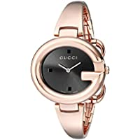 Gucci Guccissima Collection Black Dial Analogue Display Womens Quartz Watch (Rose Gold)