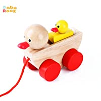 Babe Rock Pull Along Toys for 1 Year Old and Up Classic Wooden Duck Pull Toy for Infant Toddler Boys and Girls