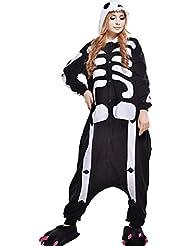 Pijamas Mujer Hombre-Disfraces Anime Cosplay Ropa de Dormir Franela de una Pieza, Esqueleto M