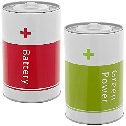 Promobo Set Set 2 Metal Recycling Batteries Storage Box Ecological Design City