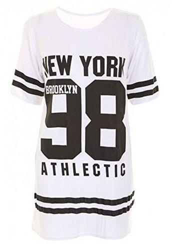 Janisramone Women Baseball Brooklyn New York 98 Oversize Baggy T Shirt Top Dress