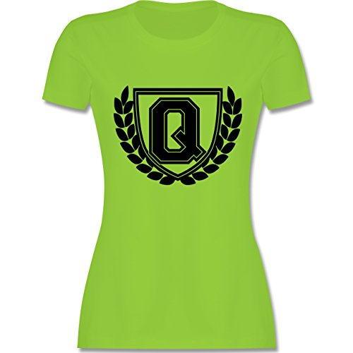 Anfangsbuchstaben - Q Collegestyle - tailliertes Premium T-Shirt mit Rundhalsausschnitt für Damen Hellgrün