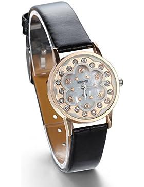 JewelryWe Damen Armbanduhr, Analog Quarz, Fashion Exquisit Leder Armband Uhr mit Rund Strass Blume Zifferblatt...