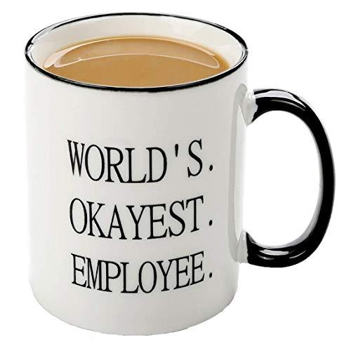 Funny mugs-worlds Okayest Mitarbeiter Keramik Kaffee Tassen, Geschenke perfekt Geschenk für Coworker Boss 11Oz Tasse Arbeit wertsteigerung Award