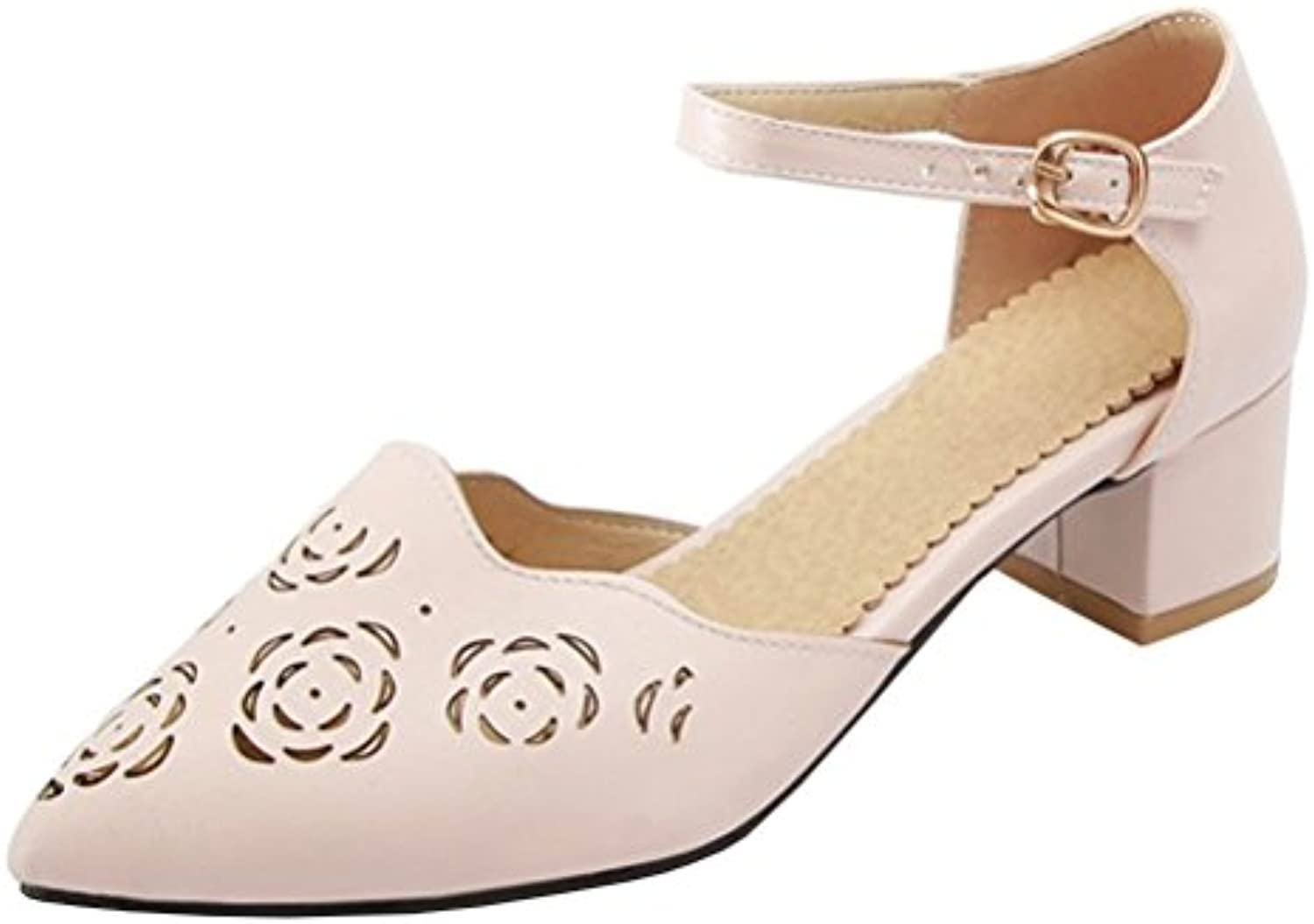 74a9535d44c Atyche Women s 16082 Mid Chunky Court Heel Pointed Mary Janes Court Shoes  Retro Carved Sandals Pointed Toe Summer Pumps B07BK5KVTR Parent 353f76c ...