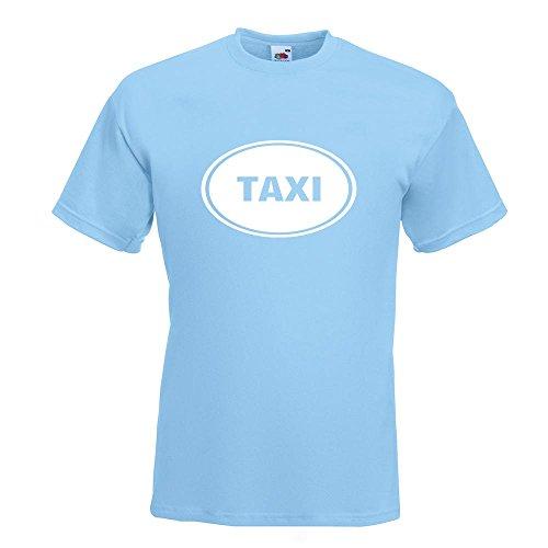 KIWISTAR - Taxi T-Shirt in 15 verschiedenen Farben - Herren Funshirt bedruckt Design Sprüche Spruch Motive Oberteil Baumwolle Print Größe S M L XL XXL Himmelblau