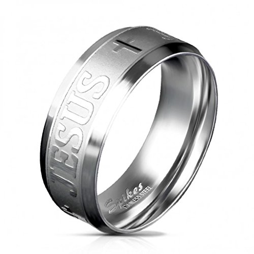 Paula & Fritz gebürsteter Edelstahl Damen-ring Verlobungs-ring Freundschaftsring Herrenring Partnerring Jesus Kreuz Gravur silber R-M5870 53 (17)