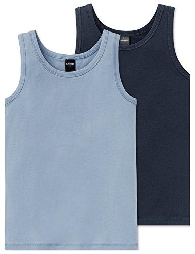 Schiesser Jungen Unterhemd 2Pack Tanks, 2er Pack, Blau Sortiert (Soritert 1901), 140 (Herstellergröße XS) (Unterhemd Jungen)