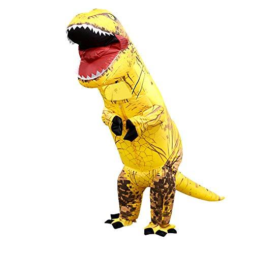 (Foru-1 Aufblasbares Dinosaurier-Kostüm T-Rex Kinder-Kleid Cosplay Anzug für Kinder 130-160 cm (gelb))