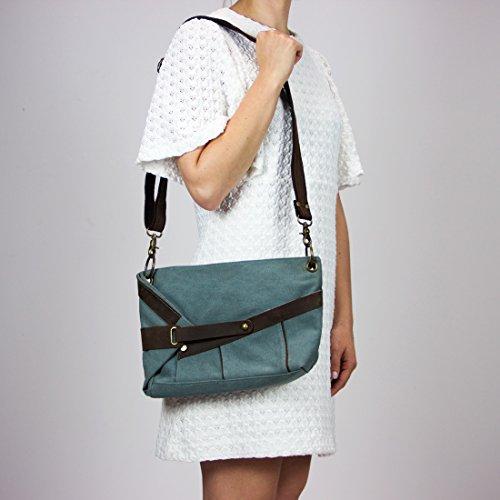 Canvas Handtasche , Ketty Long STADTKIND S Handgefertigt Vintage Damen Büffel Leder Einzigartiges Design Schultertasche Designertasche Einzigartig Stadttasche (grau) petrol