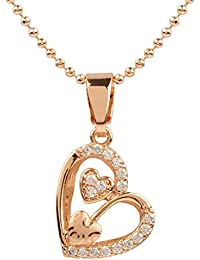 Ananth Jewels Heart Shaped Rose Gold Plated Pendant Necklace For Women - B073T4CHY8