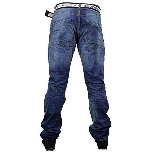 Crosshatch Techno - Jeans da uomo in tessuto Denim, con cuciture a sbalzo e cintura inclusa, in colore scuro e slavato Mitte Waschen