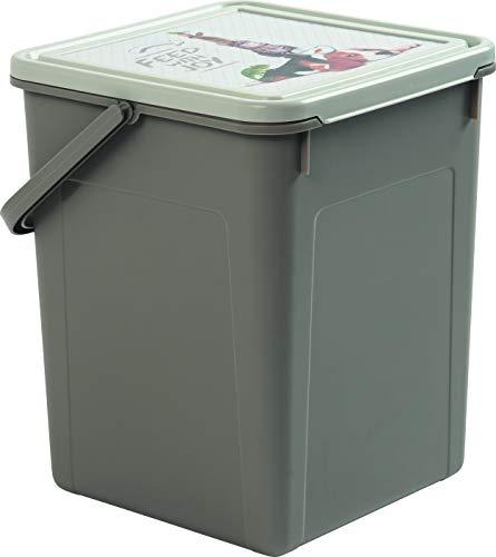 Rotho 4550410536 Aufbewahrungsbox für Tierfutter aus Kunststoff (PP) - Futterdose Fabio mit Tragegriff und Motiv auf Deckel - Für Trockenfutter - Volumen 7 Liter, M, anthrazit/weiss mit Motiv