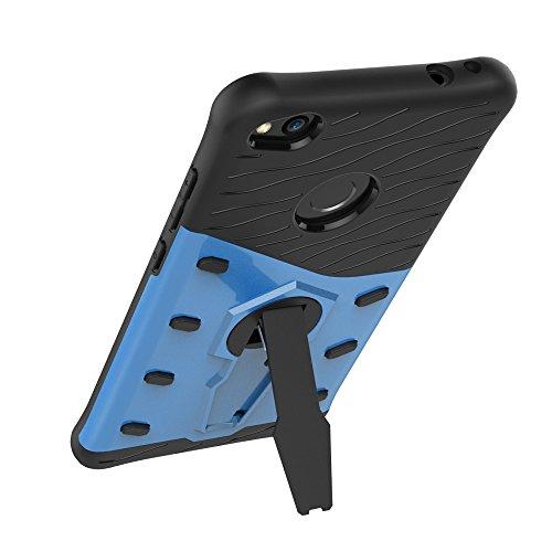 Für Huawei P8 Lite 2017 Fall Neue Rüstung Tough Style Hybrid Dual Layer Rüstung Defender Soft TPU / PC Rückseitige Abdeckung Fall mit 360 ° Stand [Shockproof Case] ( Color : Blue ) Blue
