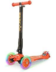 Fascol Scooter Plegable de 3 Ruedas para Niños de 3 - 12 Años, con Protector de Rodilla y el Codo, Rueda Brillante, Patinete para Niños, Naranja