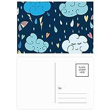 DIYthinker Gracias nube paraguas de la lluvia del corazón tarjeta postal Conjunto de tarjeta de cumpleaños