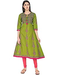 Zoeyams Women's Mehendi Green Cotton Block Prints Long Anarkali Kurti