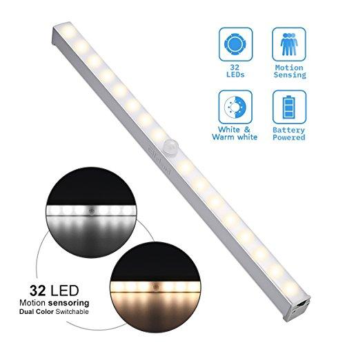 Lampe Placard , Elfeland Lampe Détecteur de Mouvement 32 LEDs avec Bandes Adhésifs Magnétiques, 3 Modes(Auto/on/off), Veilleuse Automatique pour Armoire/Couloir/Escalier/Garage
