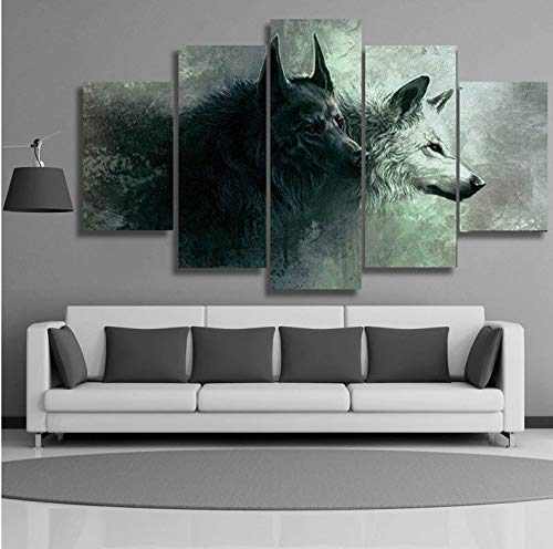 Wiwhy Wandbilder Hd-Drucke Poster Abstrakte Rote Augen Zwei Wolf 5 Stücke Abstrakte Rote Augen Zwei Wolf-Gemälde Home Decor Pictures-10X15/20/25Cm