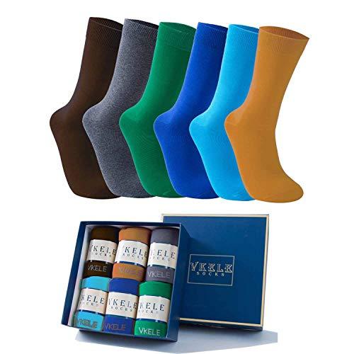 Vkele 6 Paar einfarbige Socken Geschenkpack, Ideal als Ostergeschenke, bunte Herrensocken, Baumwolle, Crew Socken, Dunkelgelb, Braun, Grau, Grün, Hellblau, blau, 43 44 45 46