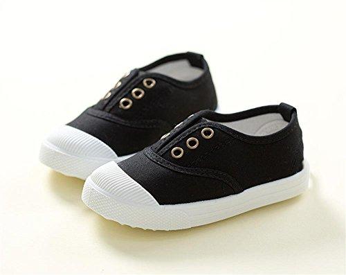 ALUK- Chaussures De Toile Pour Enfants Petits Chaussures Blanches Chaussures Bébé Étudiants Chaussures ( couleur : Noir , taille : 27 ) Noir