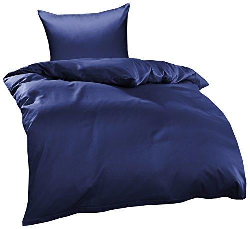 Bettwaesche-mit-Stil Mako Interlock Jersey Bettwäsche Garnitur Uni/enfarbig 100% Baumwolle 155x220 + 80x80 cm, Dunkelblau