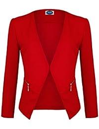 8a5034bd30e4 4tuality Damen Blazer kragenlos mit Gold Zipper und Taschen Gr. S - XXXXL
