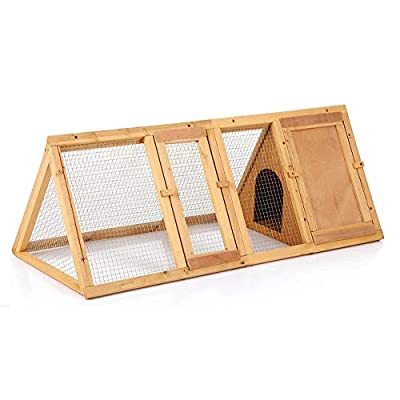 garden mile® Large Wooden Predator Proof Triangular Shaped Rabbit Hutch/Cage With Built In Run Small Animal Or Bird Habitat For Safe Small Pet Living Indoor Or Outdoor Use. from Garden Mile®