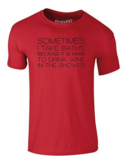Brand88 - It is Hard to Drink Wine in the Shower, Erwachsene Gedrucktes T-Shirt Rote/Schwarz