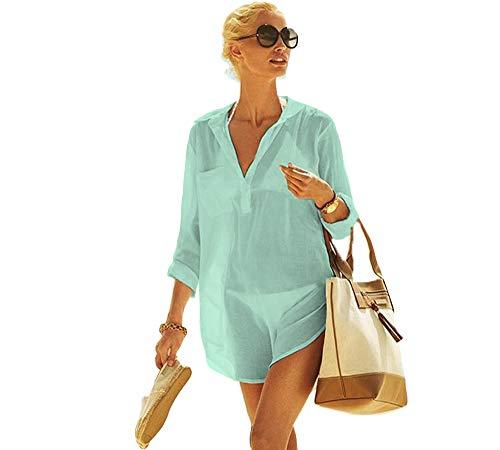 Frauen Kimono Bluse Beachwear Bikini vertuschen Bademode Badeanzug V-Ausschnitt Strand Badekleid und Kaftan Bluse für Damen (Mintgrün, XL) -