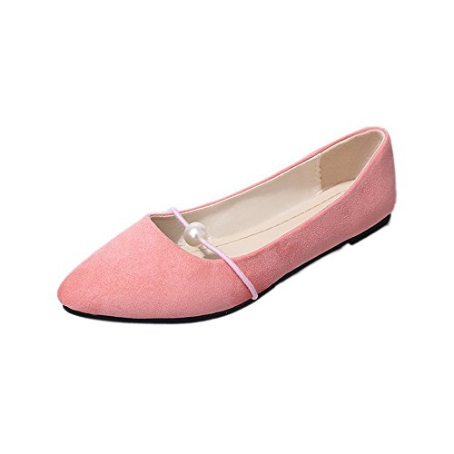 POIUDE Flache Schuhe Ausverkauf Frauen Einfarbig Wildleder Ferse Perle Flache Ferse Wies Freizeitschuhe Erbsen Schuhe(Rosa, 40)