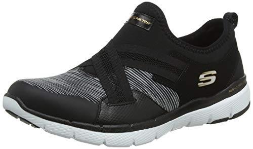 Skechers Damen Flex Appeal 3.0 Slip On Sneaker, Schwarz (Black White BKW), 38.5 EU