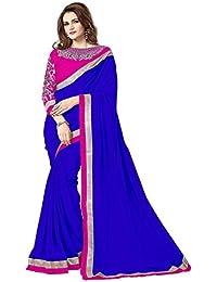 Tread India Chiffon Saree (Zarana Blue_Blue)