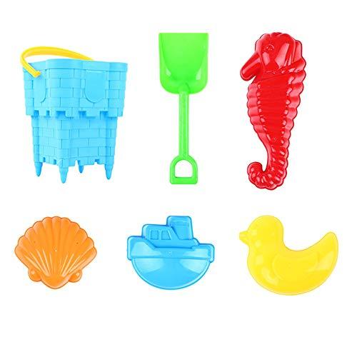 0Miaxudh Sand Strand Spielzeug, 6/14 Stücke Kinder Sand Strand Spielzeug, Burg Eimer Spaten Rake Fischform Spielwerkzeug 3