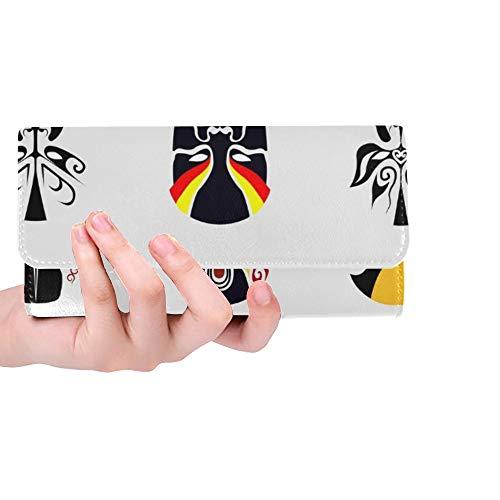 Einzigartige benutzerdefinierte Peking-Oper Maske alte Menschen Frauen Trifold Wallet Lange Geldbörse Kreditkarteninhaber Fall Handtasche