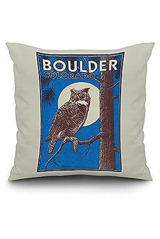 Boulder, Colorado - Horned Owl in the Moonlight - Vinatge Magazine Cover (20x20 Spun Polyester Pillow Case, Custom Border)