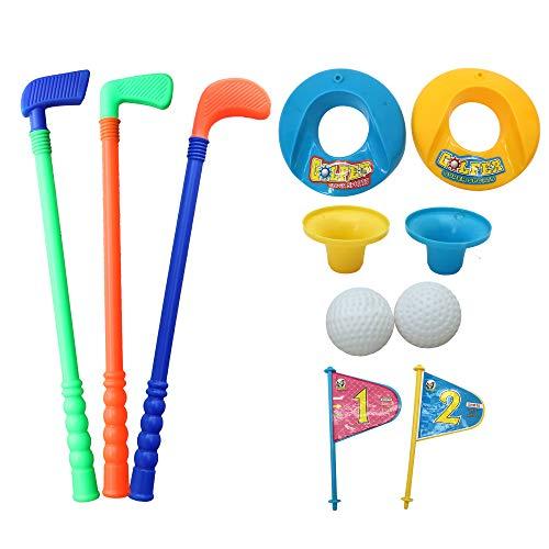 Kinder Golf Set Spielzeug - Minigolf Set für Kinder oder Eltern - 3 golfschlaeger, 2 bälle, 2 Übungslöcher set - Kinderspiele Gartenspiele, Strandspiele Parkspiele - Geeignet für drinnen und draußen