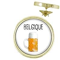 Pin's rond diamètre 20mm.Modèle Belgique Pinte de Bière - Humour Symbole Pays.Logo haute définition protégé par dome pvc serti.Diamètre du logo 18mm.Coloris Or.Fabrication Francaise