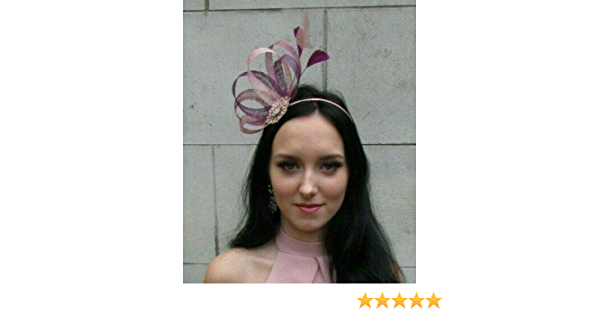 Dusky Blush Pink Heather Mauve Plum Purple Sinamay Feather Hair Fascinator 7511