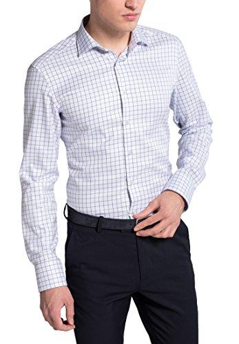 Eterna Long Sleeve Shirt Slim Fit Twill Checked azzurro chiaro/blu marino