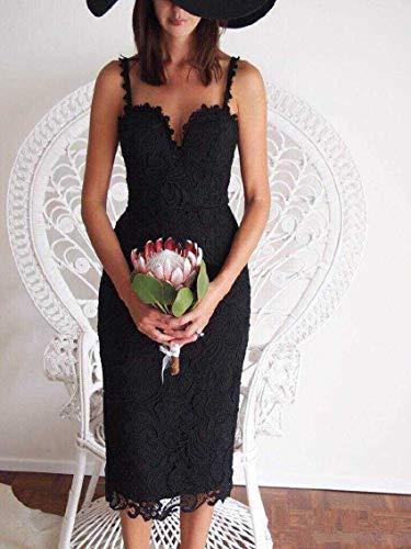YZXZ White/Black Party Dress Women Sexy Sleeveless Lace Crochet Hollow Out Slim Spaghetti Strap Bodycon Dress Black Crochet Sleeveless Rock