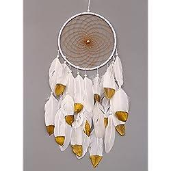 vgia hecho a mano de atrapador de sueños con plumas de pared para colgar, diseño Craft regalo, oro