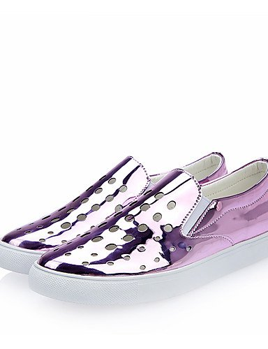 ZQ Scarpe Donna-Mocassini-Ufficio e lavoro / Formale / Casual-Punta arrotondata-Piatto-Di pelle-Viola / Argento , purple-us6.5-7 / eu37 / uk4.5-5 / cn37 , purple-us6.5-7 / eu37 / uk4.5-5 / cn37 purple-us6 / eu36 / uk4 / cn36